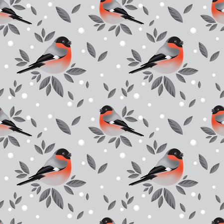 Bullfinches and foliage pattern on grey background Illustration