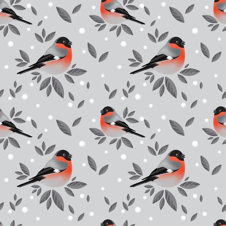 tweeting: Bullfinches and foliage pattern on grey background Illustration