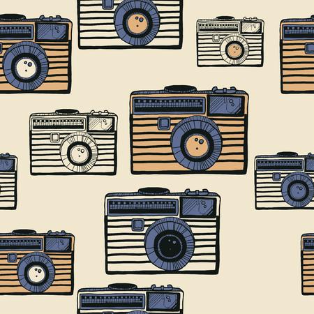 Vintage camera vector pattern on beige background