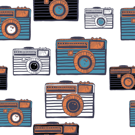 Vintage camera vector pattern on white background Иллюстрация