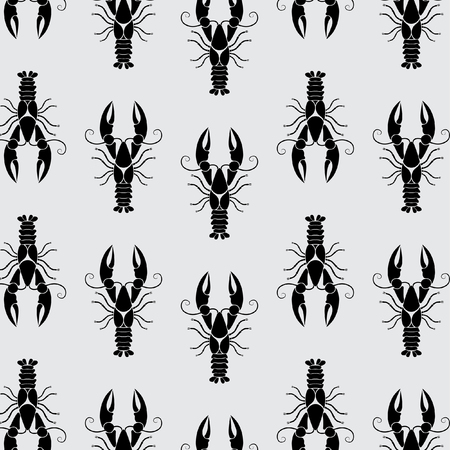 Marine crayfish pattern on grey background - vector Фото со стока - 46671621