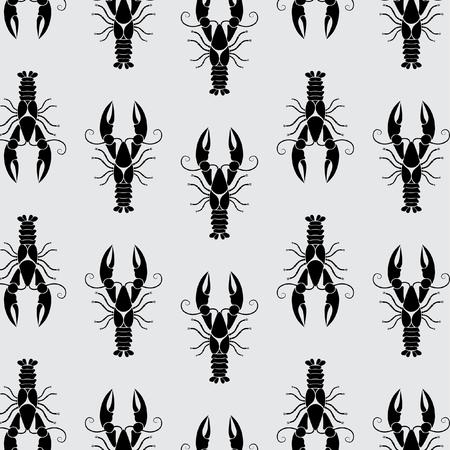 Marine crayfish pattern on grey background - vector