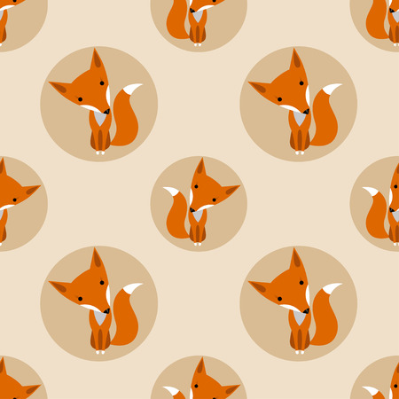 Graphically foxes in cartoon style pattern - vector Фото со стока - 46671626