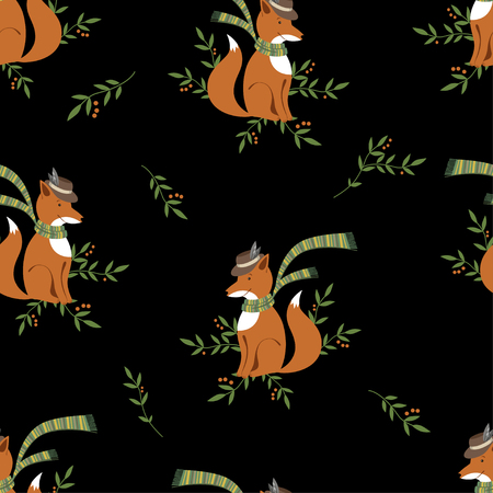 Funny foxy with scarf pattern on black background