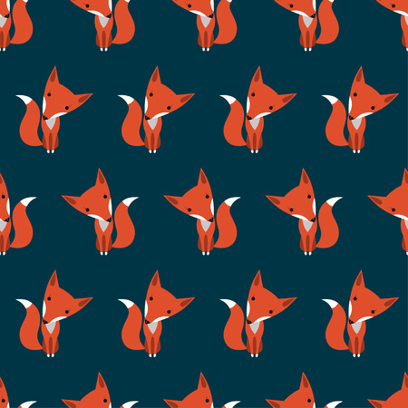 Graphically foxes in cartoon style pattern on dark blue background - vector Ilustrace