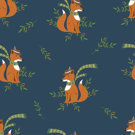 Funny foxy with scarf and hat pattern on navy background Иллюстрация