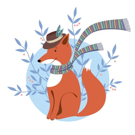 Funny foxy with scarf on white background Illustration