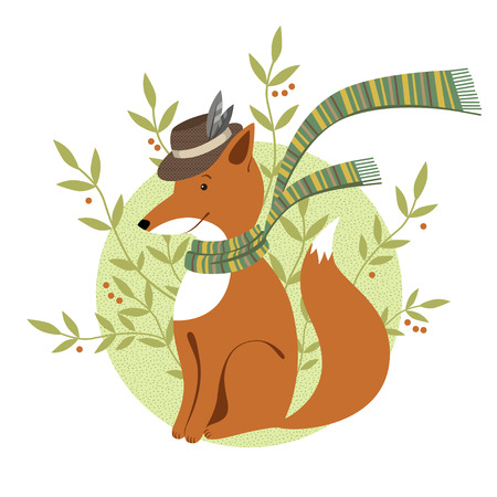 Funny foxy with scarf with green foliage