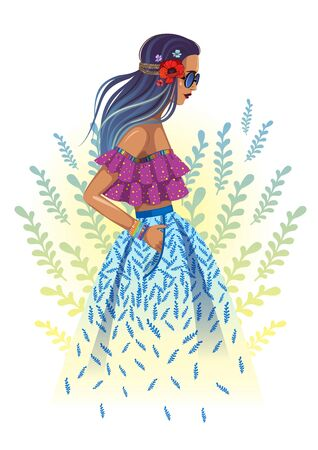Beautiful fashion hippie girl with foliage background Illustration