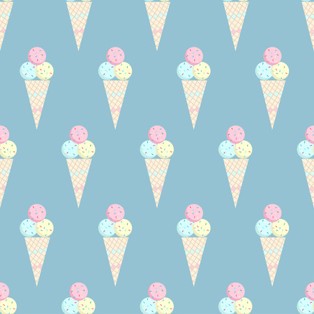 Ice cream pattern on blue background - stock vector Фото со стока - 46671929