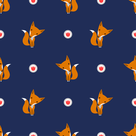Graphically foxes in cartoon style pattern on dark blue background - vector Illustration