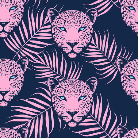 Leopard with palm leaves pattern on navy background