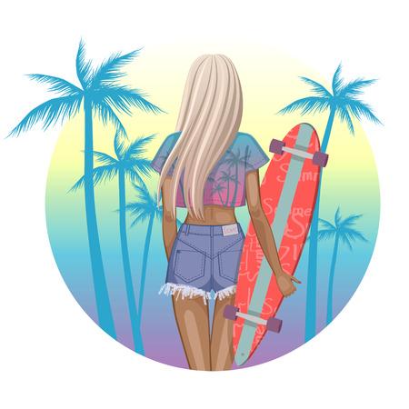 Beautiful fashion girl with longboard - vector illustration