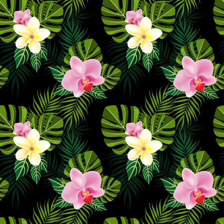 Tropical flowers pattern on black background -vector Фото со стока - 46671936