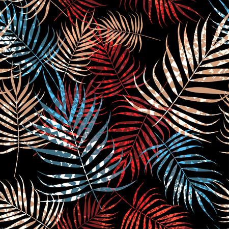 Tropical palm tree foliage on black background