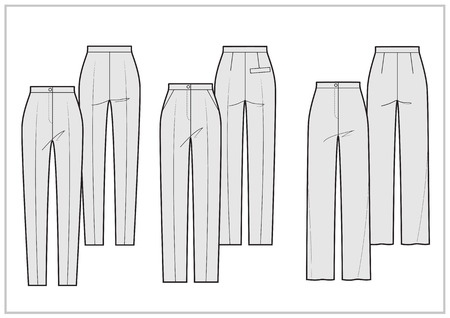 pocket size: Technical sketch different silhouettes of the pants -vector illustration