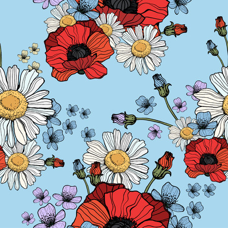Beautiful wild flowers poppies pattern on blue background- vector