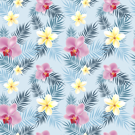 Tropical flowers pattern with palm leavs-vector illustration