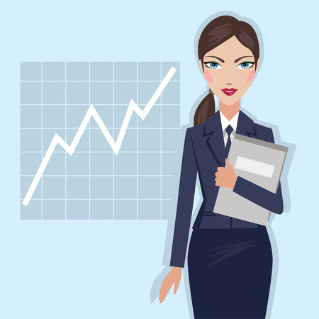 Business woman with folder in hand - vector illustration