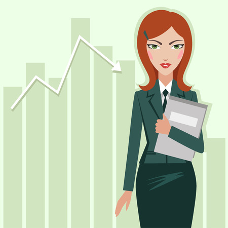 Business woman on the chart sales background - vector illustration