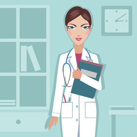 The doctor at the hospital- vector illustration. Illustration