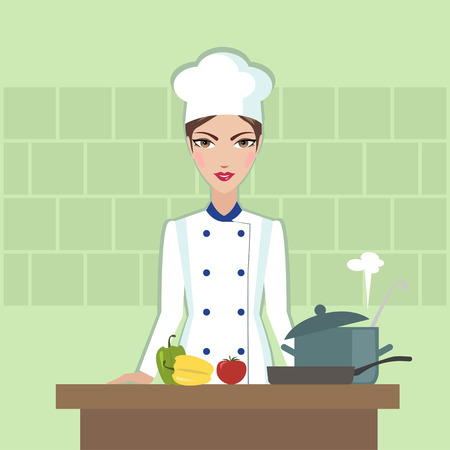 Chef cooking food Flat style illustration or icon Illustration