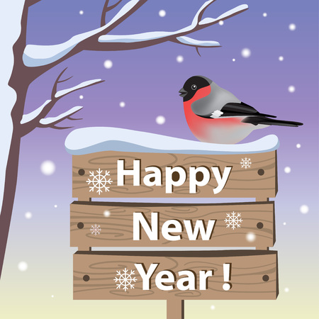 New year background and greeting card with bullfinch-vector illustration Illustration
