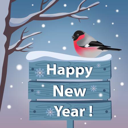 New year card with bullfinch - vector illustration. Illustration