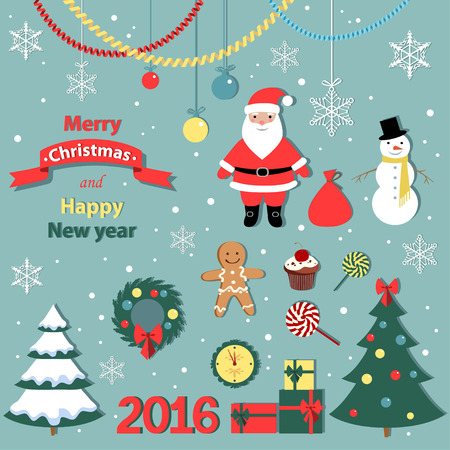 Christmas  and new year set -decorative elements -vector illustration.