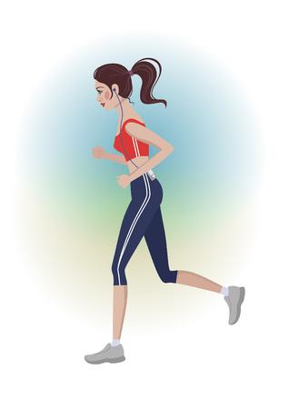 Cute running girl- vector illustration on white background