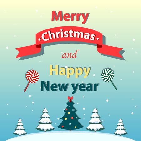 Christmas and New Year greeting card. Vector illustration. Gradient background.