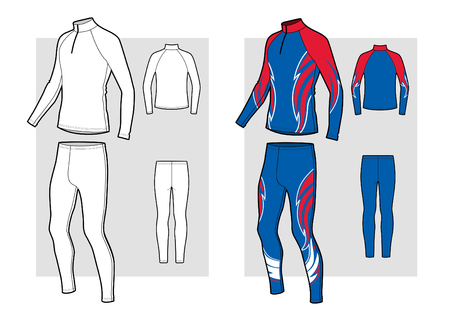 Ski racing suit technical skecth. Vector illustration.