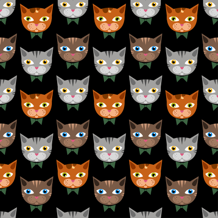 Cute cats pattern on black bachground