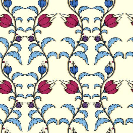 Flowers tracery pattern on beige background Illustration