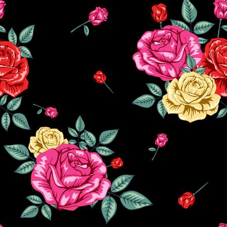 Flowers roses pattern on black background Illustration