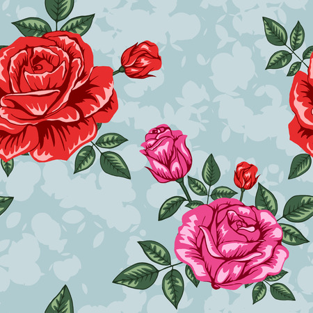 Flowers roses pattern on blue background
