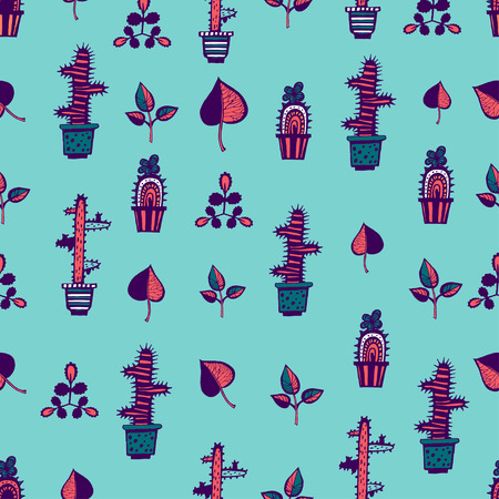 Cactuses pattern with leaves on blue background Illustration