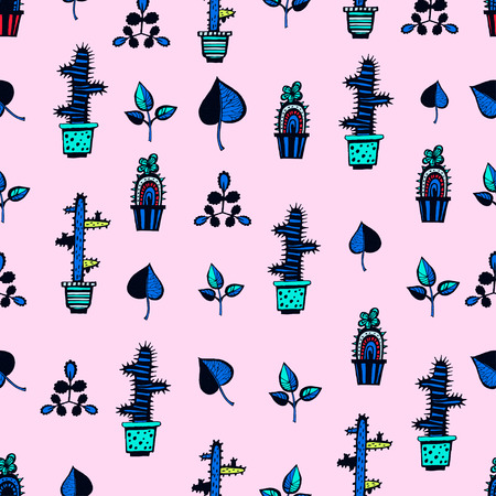 Cactuses pattern with leaves on pink background