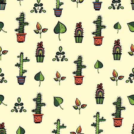Cactuses pattern with leaves on yellow background