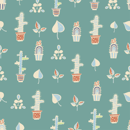 Cactuses pattern with leaves on green background