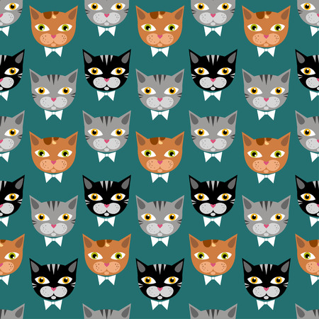 Cute cats pattern on green bachground Illustration