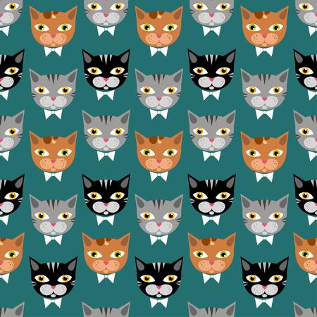 Cute cats pattern on green bachground Иллюстрация
