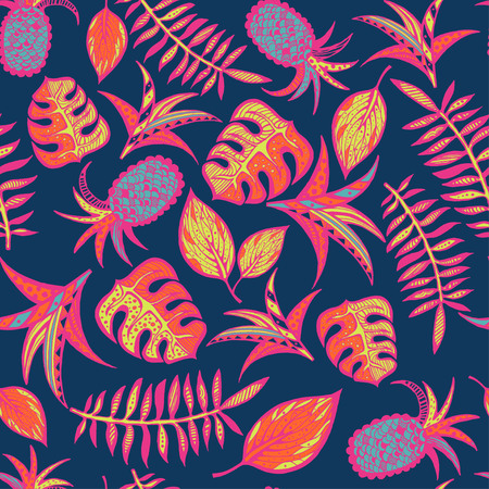 Cartoon tropical pattern on dark blue background