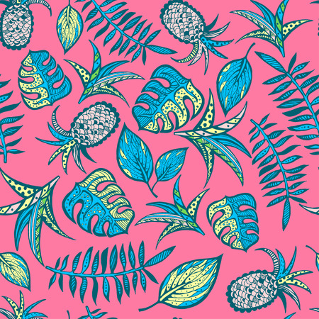 Cartoon tropical pattern on bright pink background Illustration