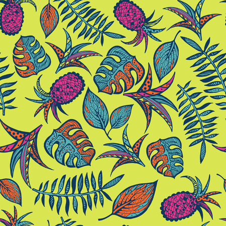 Cartoon tropical pattern on bright yellow background