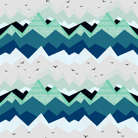 Geometric pattern with ethnic elements on grey background