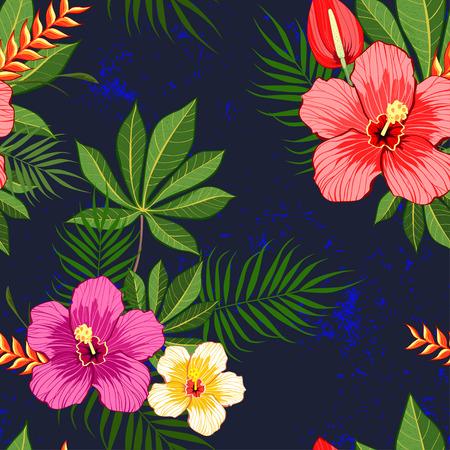 Tropical flowers pattern on dark blue background