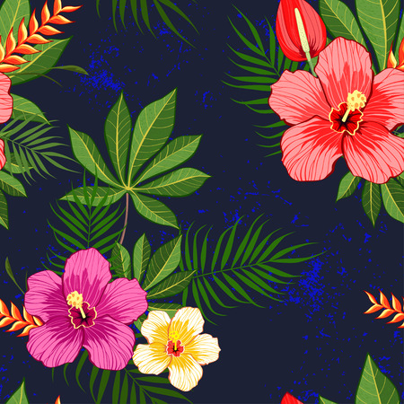Tropical flowers pattern on dark blue background