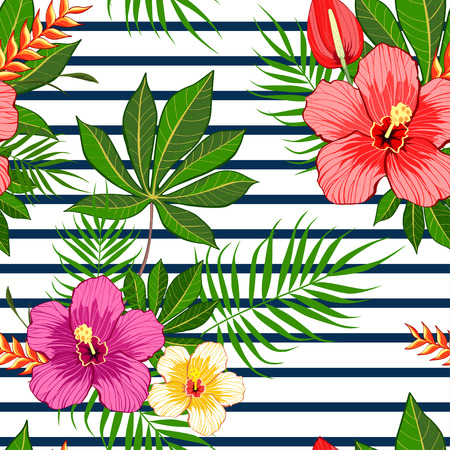 Tropical flowers pattern on white stripes background