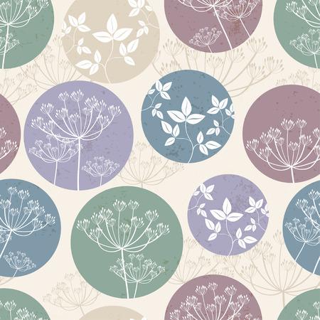 Botanical pattern with foliage on beige background